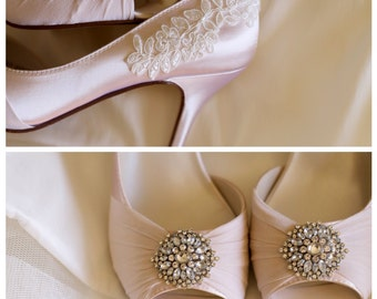 Wedding shoes peep toe low heels high heels wedge heels bridal shoes embellished with floral ivory beaded lace trim and large crystal brooch