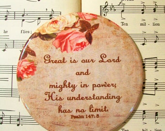 Scripture Magnet, Great is Our Lord, Large Magnet, Psalm 147:5, Refrigerator Magnet, Housewarming Gift Magnet