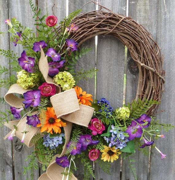 Wildflower Wreath, Spring / Summer Wreath, Burlap Wildflower Wreath, Burlap Colorful Decor, Burlap Spring Wreath, Horn's Handmade, Spring