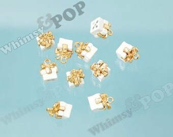 White Alloy Gift Present Charm Pendant, Gift Pendants, Gift Pendants, Gift Charm, 11mm x 9mm (3-1G)
