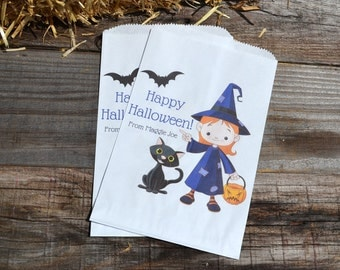 Girl Witch Personalized Halloween Goodie Bags for Halloween Party Favors, School Party Bag, Halloween Candy Bag, Trick or Treat Bag