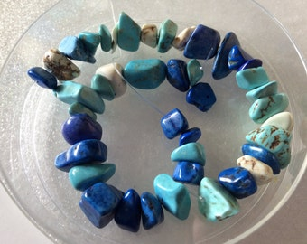 Dyed Howlite Turquoise Lapis White Nuggets 15x4mm QTY - 22 PIECES