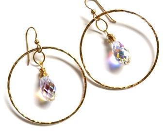 Gold Hoop Swarovski Crystal Earrings, Hammered Hoops, Elegant Sparkling Fancy Jewelry, Holiday Fashion,  Gift Idea, Handmade Maui