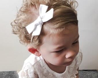 White Baby Bow Headband - Tied School Girl Bow - White Pigtail Clips - Bow Headband or Clip - White Pigtail Clip Bows - Small White Baby Bow