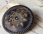 Antique button - large Victorian ivoroid celluloid and tin with glass gem details - 31mm - closing sale