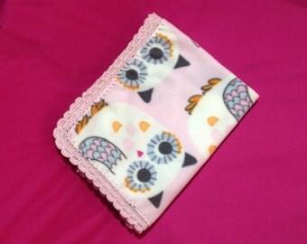 Polar fleece baby blanket with crocheted edge