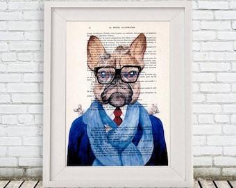Bulldog Print, French Bulldog Print, Frenchie print,Bulldog Art, Bulldog Artwork, French Vintage Paper, Nursery Artwork, Wall Art Prints