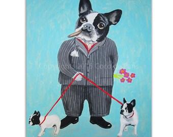 Acrylic Bulldog Painting, handpainted, Frenchie painting, french bulldog, bulldog art by painter Coco de Paris