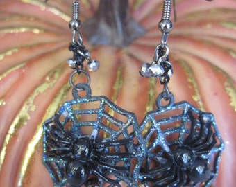 Black Spider in It's Web with Prey and Faceted Crystals Earrings
