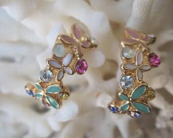 Crescent Shaped Petite Pastel Enameled Butterfly Earrings
