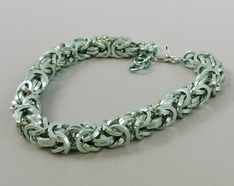 Chainmail Bracelet, Seafoam Green Chainmaille Bracelet, Chain Mail Jewelry, Square Byzantine Bracelet