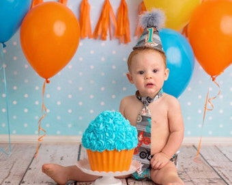 Baby Boys First Birthday Outfit Photo Cake Smash Outfit in Gray Teal and Orange Motocross Dirt Bikes