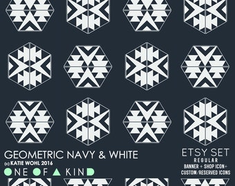 Geometric Navy and White - etsy set