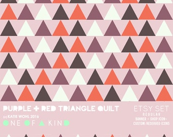 Purple and Red Triangle Quilt - banner & shop icon set