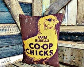 Primitive Chicken Pillow | Spring decor | Chick Pillow | Pillow tuck | Farmhouse Country Decor | Rustic Pillow | Folk Art Chicken