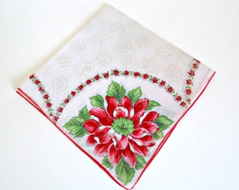 Handkerchief Hanky Hankie Vintage Hankys Hankies Antique Handkerchief Hankerchief Red White Green Floral