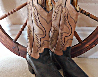 Vintage Justin Rockabilly Cowboy Boots Woman's Size 5 1/2 B Leather