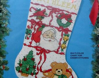 Cross Stitch Kit CHRISTMAS SAMPLER Christmas Stocking By Bucilla