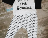 Rolling with the HOMIES, photography prop, boys clothing, rocker kid, rock star, 2 piece set outfit, Toddlers infant baby.