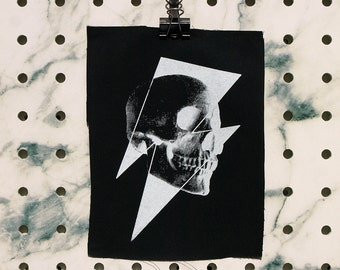 Skull Bolt Patch screen printed black canvas