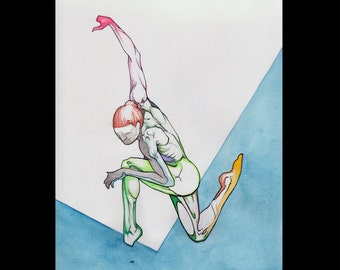 Power, Surrealist Colorful Figure Drawing, Naked nude woman ballerina, NYC Artist