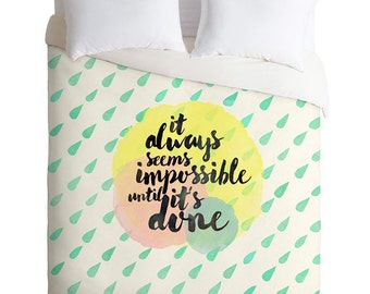 It Always Seems Impossible Until It's Done duvet cover, graduation gift mint raindrops duvet cover, inspirational gifts dorm decor bedding