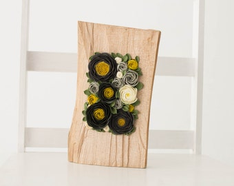 Black Yellow Grey White Rose Flower Decor Decoration Wood Frame Base Basis Planted Flowers Home Decor Accessory Housewarming Birthday Gifts