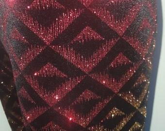 Ladies Velvet Leggings with Geometric Monochromatic Glitter Print - pick your size