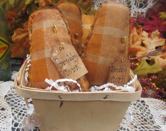 """CANDY CORN Set of Six Bowl Fillers Thanksgiving Primitive """"Grubby Corn"""" FALL Needful Ornies Handstitched n Designed by thebagglady76"""