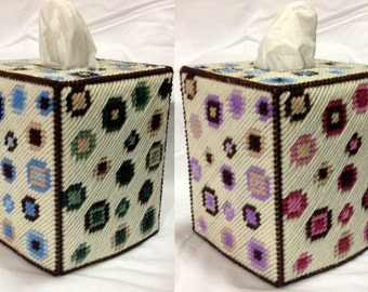 Pretty Little Dots Blue, Green, Pink or Purple Tissue Box Cover in Plastic Canvas - PATTERN ONLY
