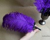 Purple Ostrich feather pen, purple black feather pen, purple Wedding guest book pen, Gothic wedding pen, purple plume ostrich, Purple decor