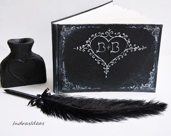 Personalized guest book | Black wedding guest book with silver heart | Black silver wedding guest book | Black feather pen and pen holder