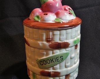 Vintage Cookie Jar - Bamboo Basket With Apples - Japan Original Arnart Creations 1950's