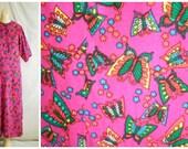 1960's Dress Vintage Novelty Print Butterfly Maxi Dress Hippie Festival Neon Colors Mod small 36 bust