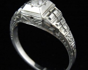 Art Deco Old European Cut Diamond 18k White Gold Engagement Promise Ring Antique