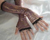 Gothic Arm Warmers Fingerless Gloves arm warmer - Indian Summer - Mauve gold foil paisley Tribal Purple Belly Dance Mehndi Gypsy ethic boho