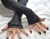 Gray and black Snake dragon Arm Warmers Fingerless Gloves Arm Warmer sleeves Gray Black punk costume cotton knit steampunk goth vampire