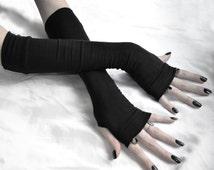 Black Gothic Sleeves Fingerless Gloves Arm Warmers Nior Bohemian Boho Gypsy long sleeve burlesque tribal running yoga cycling feminine rock
