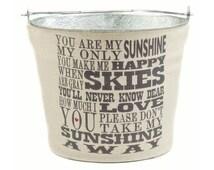 You Are My Sunshine Storage Bucket, Cream Burlap