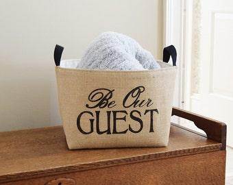 Be Our Guest Burlap Storage Bin