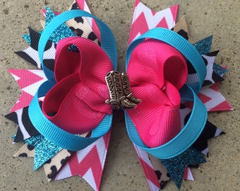 COWGIRL HAIRBOW Boutique Style Cowgirl Hair Bow in Pink Turquoise Black Brown