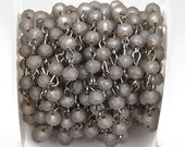 1 yard FROSTED GREY Crystal Rondelle Rosary Chain, gunmetal, 6mm faceted rondelle glass beads, fch0484a