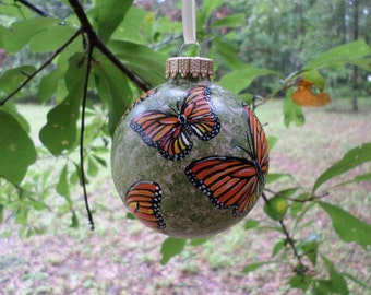Butterfly Ornament, Hand Painted Christmas  Ornament Monarch no227