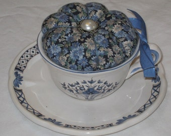 Vintage Blue Mums Cup Pincushion- repurposed, teacup, magical quilting, sewing accessories