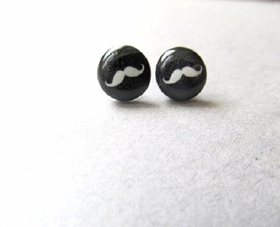 Vintage Style Mustache Stud Earrings
