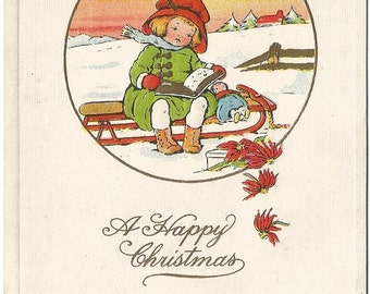 Little Girl with Doll on Old Fashioned Toboggan Christmas Greetings Vintage Postcard