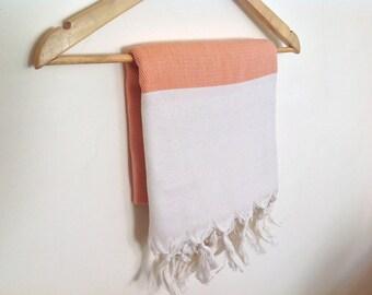 Elegant Organic Turkish Towel, Peshtemal, beach, bath,  natural cotton, Handwoven, Orange , mother's day gift