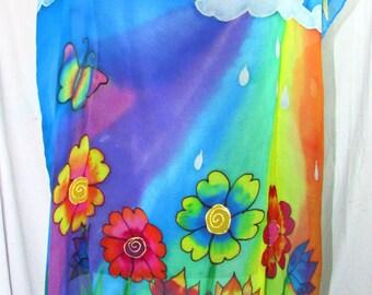 oversized chiffon silk top, silk tunic, silk caftan, beach wear, resort wear, hand painted silk, oversized top,goddess wear, rainbow top