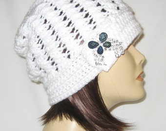 """Slouch decorated with brooch,beanie,hat,cap,white,made to fit most teens & adults 21-23"""""""