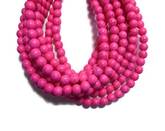 Hot Pink Howlite - 8mm Round Bead - Full Strand - 55 beads - Fuchsia - Bright Pink - Synthetic Turquoise - Neon